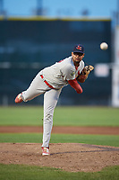 Johnson City Cardinals relief pitcher Juan Alvarez (27) delivers a pitch during the second game of a doubleheader against the Princeton Rays on August 17, 2018 at Hunnicutt Field in Princeton, Virginia.  Princeton defeated Johnson City 12-1.  (Mike Janes/Four Seam Images)