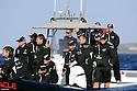 Louis Vuitton Trophy La Maddalena 2 giugno 2010. L'equipaggio di Emirates Team New Zealand osserva le ragate in attesa di partecipare a sua volta ad una prova