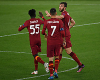 Football: Uefa Europa League - semifinal 2nd leg AS Roma vs Manchester United Olympic Stadium. Rome, Italy, May 6, 2021.<br /> Roma's Bryan Cristante (R) celebrates after scoring with his teammates  during the Europa League football match between Roma and Manchester United at Rome's Olympic stadium, Rome, on May 6, 2021.  <br /> UPDATE IMAGES PRESS/Isabella Bonotto