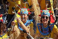 Pictured: Women take part in the celebrations in Tirnavos, central Greece. Monday 11 March 2019<br /> Re: Bourani (or Burani) the infamous annual carnival which dates to 1898 which takes place on the day of (Clean Monday), the first days of Lent in Tirnavos, central Greece, in which men hold phallus shaped objects as scepters in their hands.