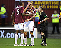 31/10/2009  Copyright  Pic : James Stewart.sct_jspa14_motherwell_v_hearts  . :: EGGERT JONSSON GETS A RED CARD AFTER A LAST MAN CHALLENGE ON JIM O'BRIEN :: .James Stewart Photography 19 Carronlea Drive, Falkirk. FK2 8DN      Vat Reg No. 607 6932 25.Telephone      : +44 (0)1324 570291 .Mobile              : +44 (0)7721 416997.E-mail  :  jim@jspa.co.uk.If you require further information then contact Jim Stewart on any of the numbers above.........