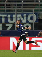 Football Soccer: UEFA Champions League FC Internazionale Milano vs Tottenham Hotspur FC, Giuseppe Meazza stadium, September 15, 2018.<br /> Inter's captain Mauro Icardi celebrates after scoring during the Uefa Champions League football match between Internazionale Milano and Tottenham Hotspur at Giuseppe Meazza (San Siro) stadium, September 18, 2018.<br /> UPDATE IMAGES PRESS/Isabella Bonotto