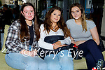 Enjoying the evening in the Ashe Hotel on Saturday, l to r: Sarah Mahony (Tralee), Anna Ogica and Emily Maloney from Finuge.
