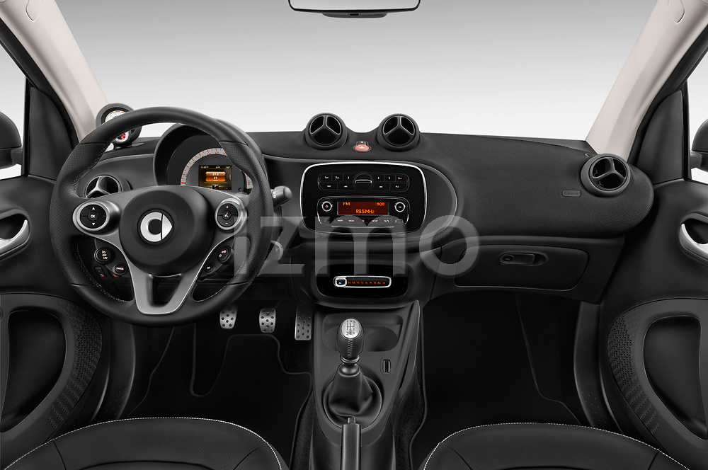 Stock photo of straight dashboard view of a 2018 Smart fortwo prime coupe 3 Door micro car
