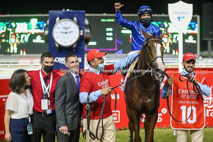 March 27 2021: MYSTIC GUIDE #10, ridden by jockey Luis Saez wins the Dubai World Cup for trainer Mike Stidham at Meydan Racecourse, Dubai, UAE. Shamela Hanley/Eclipse Sportswire/CSM