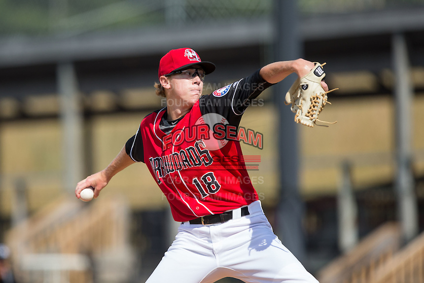 Hickory Crawdads starting pitcher Matt Ball (18) in action against the Delmarva Shorebirds at L.P. Frans Stadium on June 18, 2016 in Hickory, North Carolina.  The Crawdads defeated the Shorebirds 1-0 in game one of a double-header.  (Brian Westerholt/Four Seam Images)