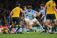 Juan Martin Fernandez Lobbe of Argentina challenges Rob Simmons of Australia during the Semi Final of the Rugby World Cup 2015 between Argentina and Australia - 25/10/2015 - Twickenham Stadium, London<br /> Mandatory Credit: Rob Munro/Stewart Communications