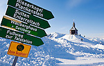Germany, Bavaria, Upper Bavaria, Tegernseer Valley, Holy Cross Church at Wallberg mountain, signpost, ski hiker