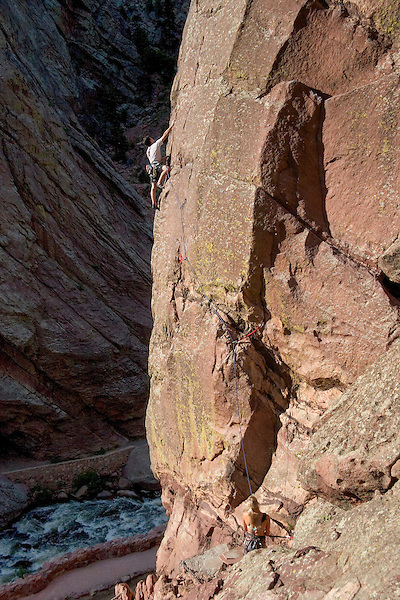 Man rock climbing the West Buttress, Eldorado Canyon, Boulder, Colorado, John offers private photo tours of Boulder, Denver and Rocky Mountain National Park. .  John leads private photo tours in Boulder and throughout Colorado. Year-round.