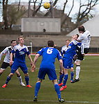 Edinburgh City 1 Cove Rangers 1, 30/04/2016. Commonwealth Stadium, Scottish League Pyramid Play Off. Second-half action from the Scottish pyramid play-off second leg between Edinburgh City (in white) and Cove Rangers at the Commonwealth Stadium at Meadowbank in Edinburgh. The match between the champions of the Lowland and Highland Leagues determined which club would play-off against East Stirlingshire for a place in the Scottish league. The second leg ended 1-1, giving Edinburgh City a 4-1 aggregate win. Photo by Colin McPherson.