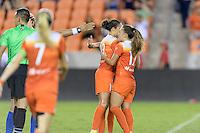 Houston, TX - Sunday Sept. 25, 2016: Carli Lloyd celebrates scoring, Andressa Machry during a regular season National Women's Soccer League (NWSL) match between the Houston Dash and the Seattle Reign FC at BBVA Compass Stadium.