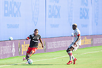 LAKE BUENA VISTA, FL - JULY 13: Edison Flores #10 of DC United. Chris Mavinga #23 of Toronto FC during a game between D.C. United and Toronto FC at Wide World of Sports on July 13, 2020 in Lake Buena Vista, Florida.
