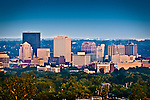 Skyline of Dayton Ohio, summer evening showing the buildings of Downtown.