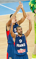 "France`s  Tony Parker celebrate victory after European basketball championship ""Eurobasket 2013"" semifinal basketball game between Spain and France in Stozice Arena in Ljubljana, Slovenia, on September 20. 2013. (credit: Pedja Milosavljevic  / thepedja@gmail.com / +381641260959)"