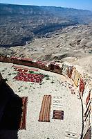 Jordan. Between Karak and Tafila. Old Kings road. Carpets for sale to tourists or local people. © 2002 Didier Ruef