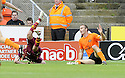 19/09/2009  Copyright  Pic : James Stewart.sct_jspa_09_dundee_utd_v_motherwell  .SEAN DILLON BRINGS DOWN JIM O'BRIEN FOR MOTHERWELL'S PENALTY....James Stewart Photography 19 Carronlea Drive, Falkirk. FK2 8DN      Vat Reg No. 607 6932 25.Telephone      : +44 (0)1324 570291 .Mobile              : +44 (0)7721 416997.E-mail  :  jim@jspa.co.uk.If you require further information then contact Jim Stewart on any of the numbers above.........