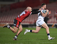 12th February 2021; Kingsholm Stadium, Gloucester, Gloucestershire, England; English Premiership Rugby, Gloucester versus Bristol Bears; Willi Heinz of Gloucester gets to grips with the run from Andy Uren of Bristol Bears