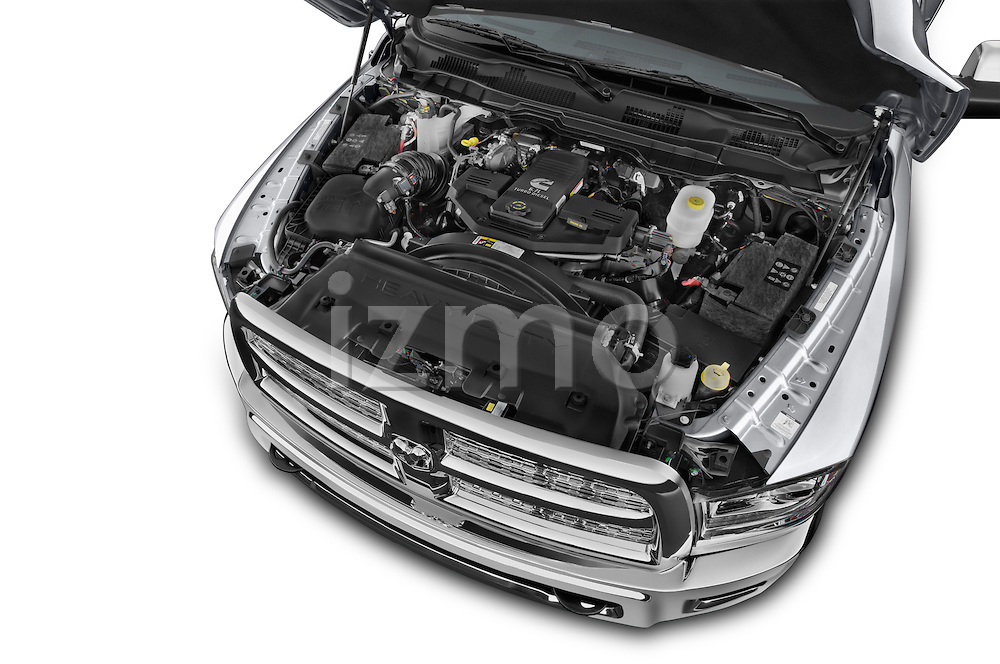 Car stock 2015 Ram 3500 Laramie Mega Cab 4 Door Van engine high angle detail view