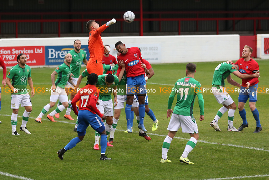 Adam Smith of Yeovil Town punches clear during Dagenham & Redbridge vs Yeovil Town, Vanarama National League Football at the Chigwell Construction Stadium on 17th October 2020