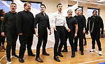 """Kevin Kern, John Treacy Egan, Corey Cott, Tony Yazbeck,  Eliseo Roman, Chris Dwan, Kevin Duda and Alex Newell during a Performance Sneak Peek of The MCP Production of """"The Scarlet Pimpernel"""" at Pearl Rehearsal studio Theatre on February 14, 2019 in New York City."""