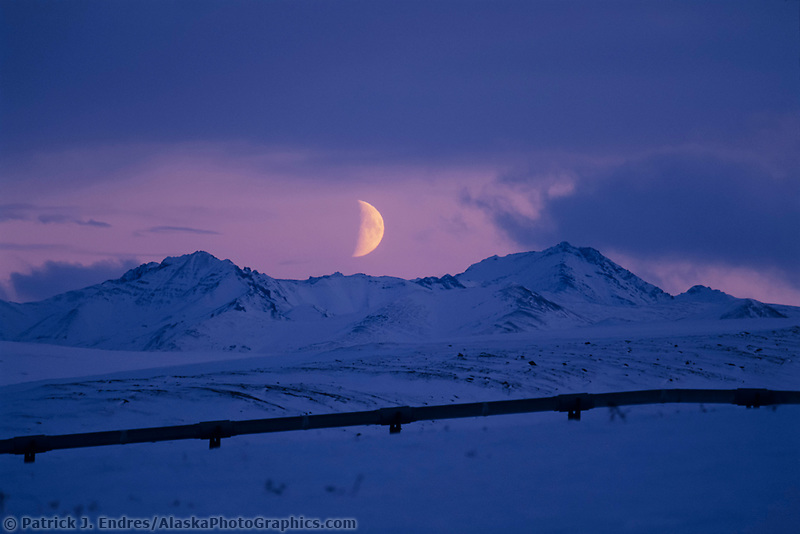 Moonrise over the Philip Smith Mountains, Brooks Range, trans Alaska pipeline, Alaska