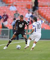 DC United defender Jordan Graye (16) controls the ball against Kansas City Wizards midfielder Santiago Hirsig (10).  DC United defeated The Kansas City Wizards  2-0 at RFK Stadium, Wednesday  May 5, 2010.