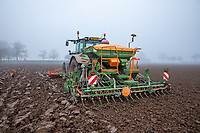 Combination drilling winter wheat in fog - Lincolnshire, November