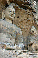 China, two Buddha statues in Yungang Shiku caves (Licence this image exclusively with Getty: http://www.gettyimages.com/detail/74583263 )