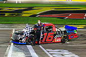 #16: Austin Hill, Hattori Racing Enterprises, Toyota Tundra Weins Canada celebrates his win