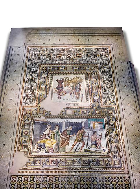 Roman mosaics - Mousai Mosaic. Euphrates Villa, Ancient Zeugama, 2nd - 3rd century AD . Zeugma Mosaic Museum, Gaziantep, Turkey.  Against a white background.