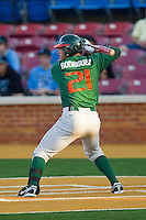 Rony Rodriguez #21 of the Miami Hurricanes at bat against the Wake Forest Demon Deacons at Gene Hooks Field on March 18, 2011 in Winston-Salem, North Carolina.  Photo by Brian Westerholt / Four Seam Images