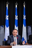 Point de presse <br /> du premier ministre du Québec, M. François Legault,<br /> avec le ministre de la Santé et des Services sociaux, M. Christian Dubé, et le directeur national de la santé publique, M. Horacio Arruda<br /> le 29 Octobre 2020<br /> <br /> PHOTO :  Emilie Nadeau