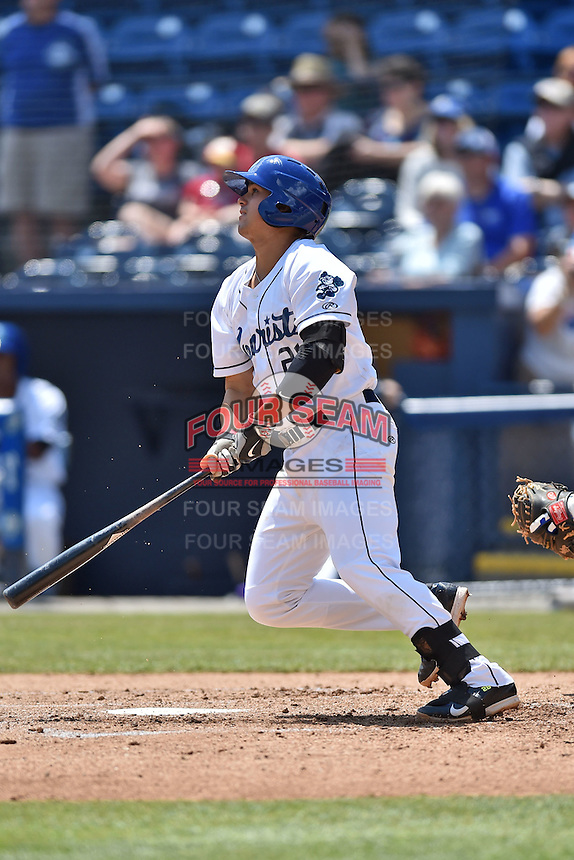 Asheville Tourists first baseman Josh Fuentes (21) swings at a pitch during a game against the Lexington Legends on May 3, 2015 in Asheville, North Carolina. The Legends defeated the Tourists 6-3. (Tony Farlow/Four Seam Images)