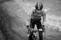 Wout Van Aert (BEL) during course recon & training in the snow<br /> <br /> 2015 UCI World Championships Cyclocross <br /> Tabor, Czech Republic