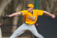 Canisius Golden Griffins relief pitcher Eric Stolzenburg (19) in action against the Charlotte 49ers at Hayes Stadium on February 23, 2014 in Charlotte, North Carolina.  The Golden Griffins defeated the 49ers 10-1.  (Brian Westerholt/Four Seam Images)