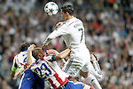 Real Madrid's Cristiano Ronaldo (r) and Atletico de Madrid's Joao Miranda during Champions League 2014/2015 Quarter-finals 2nd leg match.April 22,2015. (ALTERPHOTOS/Acero)