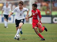 Alex Shinsky dribbles the ball. US Under-17 Men's National Team defeated United Arab Emirates 1-0 at Gateway International  Stadium in Ijebu-Ode, Nigeria on November 1, 2009.