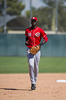 Cincinnati Reds outfielder Edwin Yon (80) jogs off the field between innings during an Instructional League game against the Oakland Athletics on September 29, 2017 at Lew Wolff Training Complex in Mesa, Arizona. (Zachary Lucy/Four Seam Images)