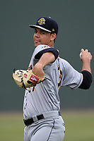 Starting pitcher Freicer Perez (37) of the Charleston RiverDogs delivers a pitch warms up prior to a game against the Greenville Drive on Thursday, July 27, 2017, at Fluor Field at the West End in Greenville, South Carolina. Charleston won, 5-2. (Tom Priddy/Four Seam Images)