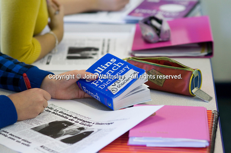 French dictionary, 6th form French class.  State secondary school.