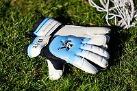 Pictured: A pair of goalkeeper gloves on the ground. Thursday 18 January 2018<br /> Re: Players and staff of Newport County Football Club prepare at Newport Stadium, for their FA Cup game against Tottenham Hotspur in Wales, UK
