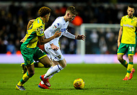 Leeds United's Jack Clarke takes on Norwich City's Jamal Lewis<br /> <br /> Photographer Alex Dodd/CameraSport<br /> <br /> The EFL Sky Bet Championship - Leeds United v Norwich City - Saturday 2nd February 2019 - Elland Road - Leeds<br /> <br /> World Copyright © 2019 CameraSport. All rights reserved. 43 Linden Ave. Countesthorpe. Leicester. England. LE8 5PG - Tel: +44 (0) 116 277 4147 - admin@camerasport.com - www.camerasport.com