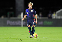 FORT LAUDERDALE, FL - DECEMBER 09: Jackson Yueill #6 of the United States moves with the ball during a game between El Salvador and USMNT at Inter Miami CF Stadium on December 09, 2020 in Fort Lauderdale, Florida.