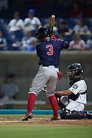 Nick Yorke (3) of the Salem Red Sox at bat against the Kannapolis Cannon Ballers at Atrium Health Ballpark on July 30, 2021 in Kannapolis, North Carolina. (Brian Westerholt/Four Seam Images)