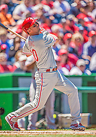 26 May 2013: Philadelphia Phillies infielder Michael Young in action against the Washington Nationals at Nationals Park in Washington, DC. The Nationals defeated the Phillies 6-1, taking the rubber game of their 3-game weekend series. Mandatory Credit: Ed Wolfstein Photo *** RAW (NEF) Image File Available ***