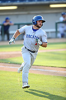 Nate Mondou (3) of the Stockton Ports runs to first base during a game against the Rancho Cucamonga Quakes at Loan Mart Field on July 16, 2017 in Rancho Cucamonga, California. Rancho Cucamonga defeated Stockton 9-1. (Larry Goren/Four Seam Images)