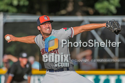 31 July 2016: Connecticut Tigers pitcher John Hayes on the mound against the Vermont Lake Monsters at Centennial Field in Burlington, Vermont. The Lake Monsters edged out the Tigers 4-3 in NY Penn League action.  Mandatory Credit: Ed Wolfstein Photo *** RAW (NEF) Image File Available ***