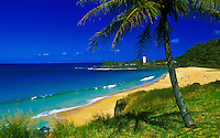Beachgoers enjoying Waimea Bay, North Shore, Oahu