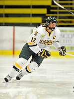 16 October 2010: University of Vermont Catamount forward and Team Captain Celeste Doucet, a Senior from Memramcook, New Brunswick, in action against the Boston College Eagles at Gutterson Fieldhouse in Burlington, Vermont. The Lady Cats fell to the visiting Eagles 4-1 in the second game of their weekend series. Mandatory Credit: Ed Wolfstein Photo