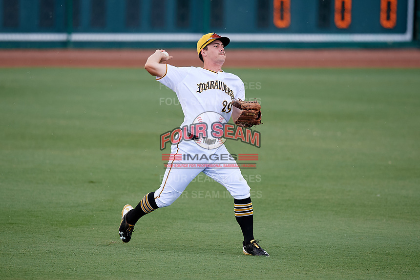 Bradenton Marauders left fielder Lucas Tancas (29) throws the ball in after making a diving catch during a game against the Tampa Tarpons on August 12, 2018 at LECOM Park in Bradenton, Florida.  The game was suspended in the bottom of the first inning due to weather.  (Mike Janes/Four Seam Images)